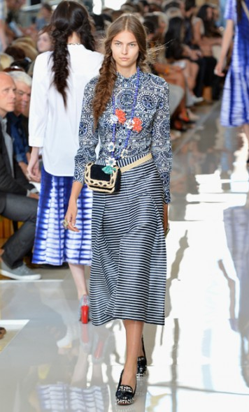 Mismatched prints at Tory Burch.