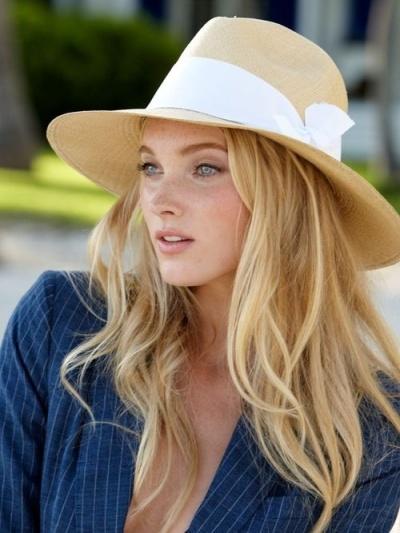 White band straw hat, via