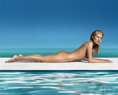 Kate Moss and her goregous sunkissesd skin in a St.Tropez tanning products ad, via