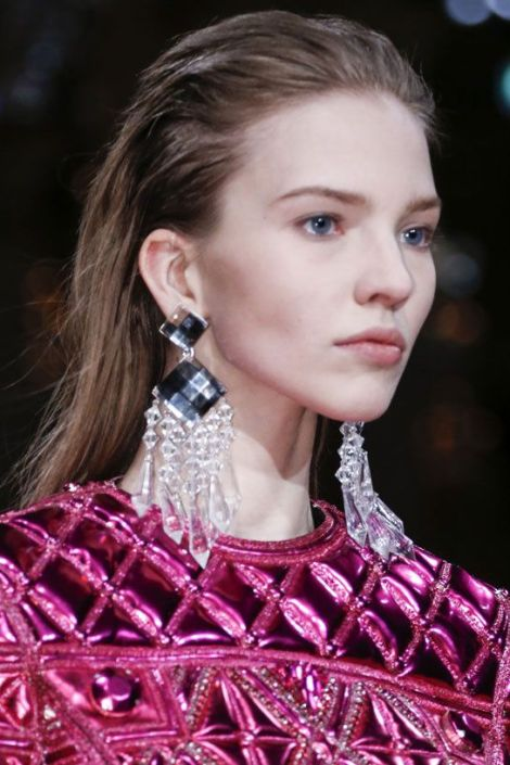 Transparent chandelier earrings at Balmain, via